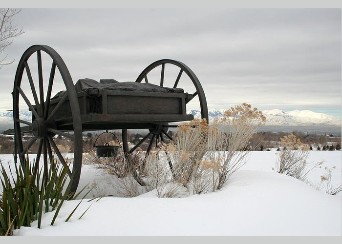 Handcart Greeting Card featuring the photograph Handcart Monument by Margie Wildblood