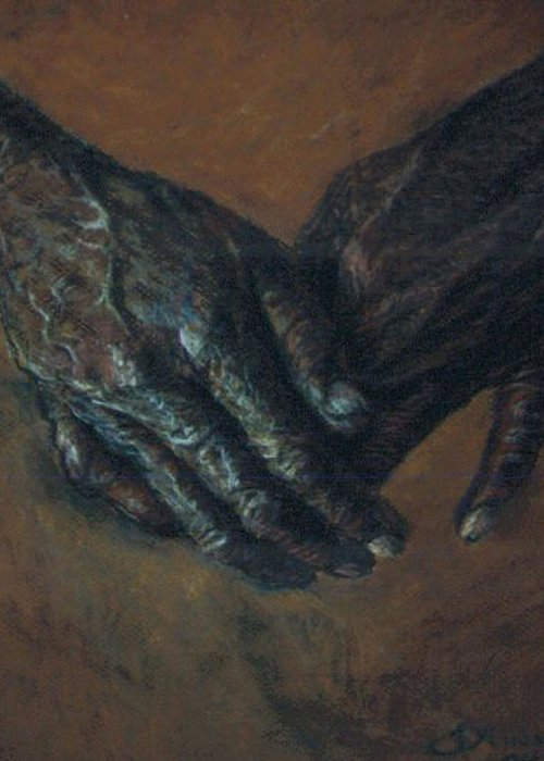 Hands Greeting Card featuring the pastel Hands Of Time by Tommy Winn