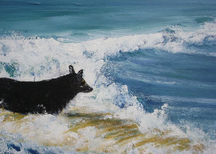 Surfing Greeting Card featuring the painting Hang What Where. by Laura Johnson