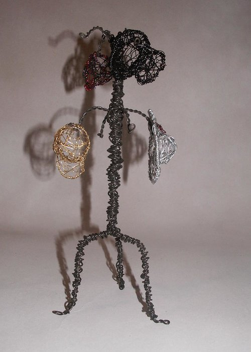 Hatrack Greeting Card featuring the sculpture Hang Your Hat by Charlene White