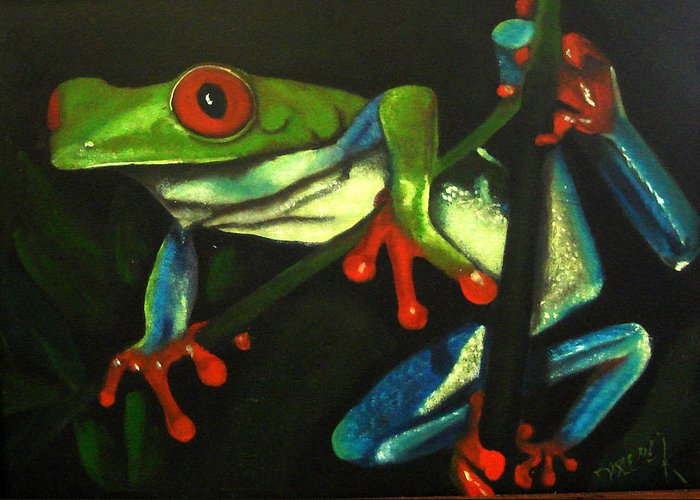 Red Eyed Tree Frog Greeting Card featuring the painting Hangin Out by Darlene Green