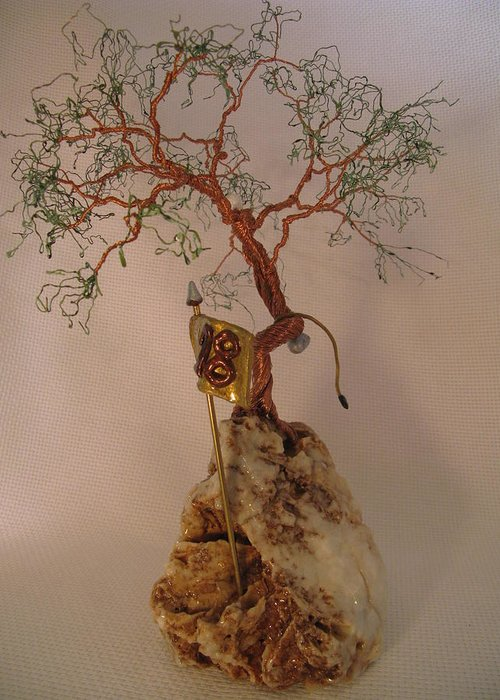 Metal Tree Greeting Card featuring the sculpture Hanging It Up by Judy Byington