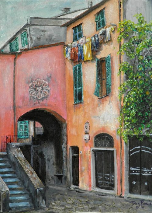 Cityscape Greeting Card featuring the painting Hanging Out in Monterosso al Mare by Dan Bozich