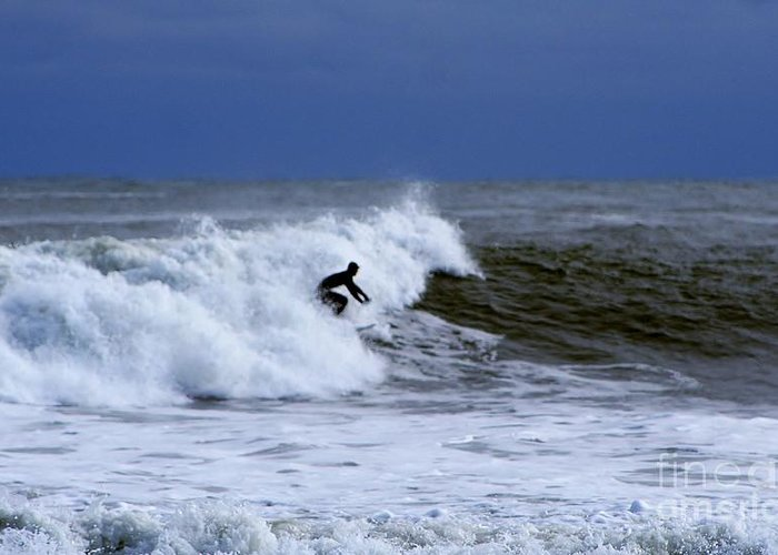 Surfer Greeting Card featuring the photograph Hanging Ten In New England by Barbara S Nickerson