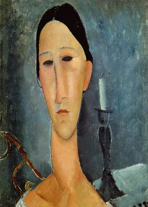 Hanka Greeting Card featuring the painting Hanka Zborowska With A Candlestick by Amedeo Modigliani