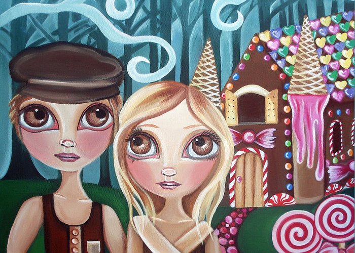 Hansel Greeting Card featuring the painting Hansel And Gretel by Jaz Higgins