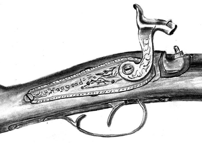 Antique Firearm Greeting Card featuring the drawing Hapgood Musket by Kevin Callahan