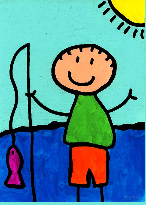 Childlike Greeting Card featuring the painting Happi Arte 2 - Boy Fish Art by Sharon Cummings