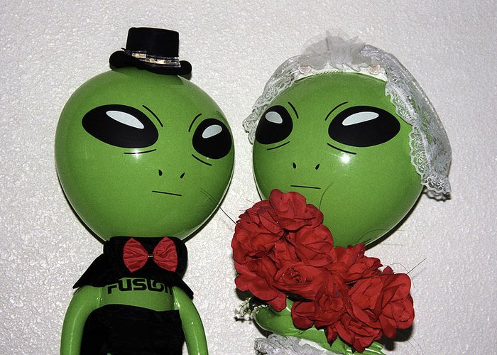 Alien Greeting Card featuring the photograph Happily Wedded Aliens by Richard Henne
