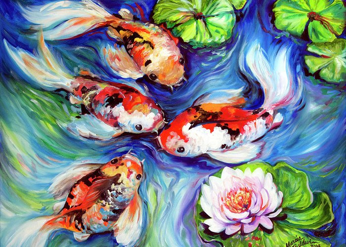 Koi Greeting Card featuring the painting Happiness Koi by Marcia Baldwin