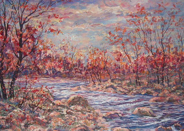 Landscape Greeting Card featuring the painting Happy Autumn Days. by Leonard Holland