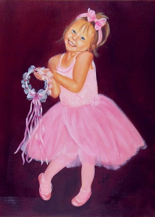 Portrait Greeting Card featuring the painting Happy Ballerina by Joni McPherson