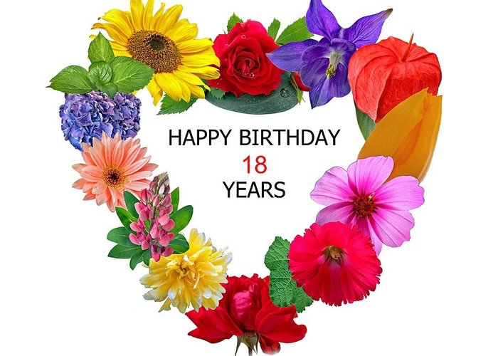 Happy Birthday 18 Years Greeting Card For Sale By Manfred Lutzius