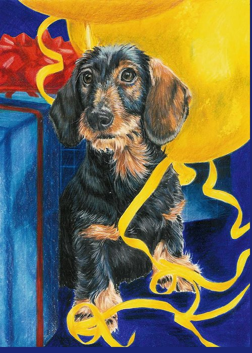 Dogs Greeting Card featuring the drawing Happy Birthday by Barbara Keith
