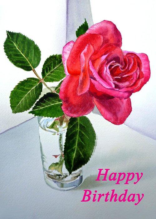 Happy Birthday Card Rose Greeting