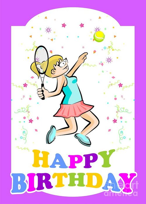 Happy Birthday For The Best Tennis Player Girl Greeting Card For