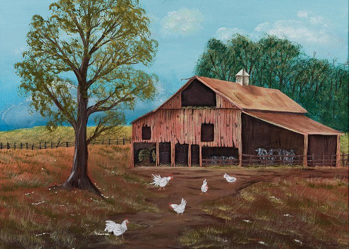 Landscape Greeting Card featuring the painting Happy Chickens by Julia Ellis