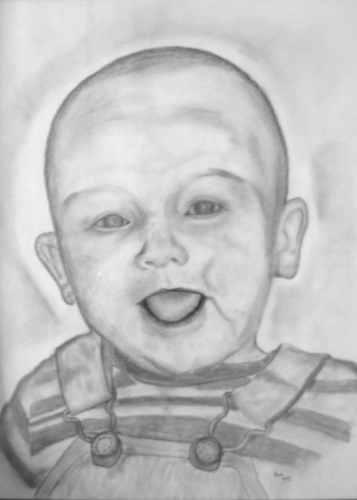 Charcoal Drawing Greeting Card featuring the drawing Happy Child by Russ Smith