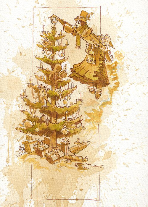Steampunk Greeting Card featuring the painting Happy Christmas by Brian Kesinger