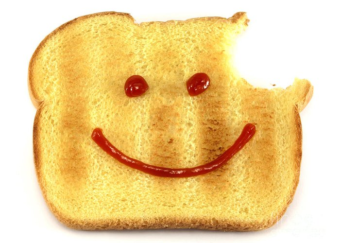 Bread Greeting Card featuring the photograph Happy Face And Bread by Blink Images