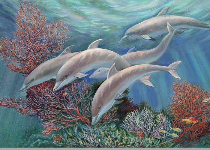 Dolphin Greeting Card featuring the painting Happy Family - Dolphins Are Awesome by Svitozar Nenyuk