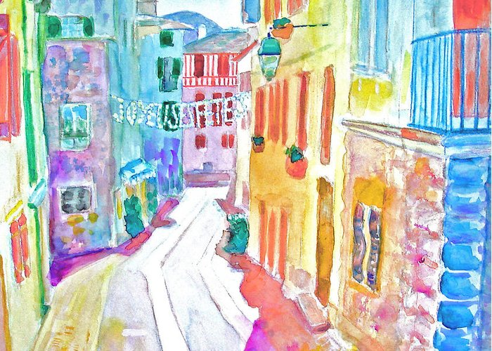 Cityscape Greeting Card featuring the painting Happy Feast by Aymeric NOA