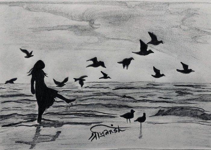 Sea Greeting Card featuring the drawing Happy Feet by Shriyansh Dwivedi