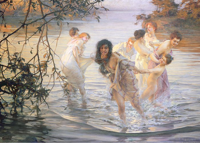 Happy Games Greeting Card featuring the painting Happy Games by Paul Chabas
