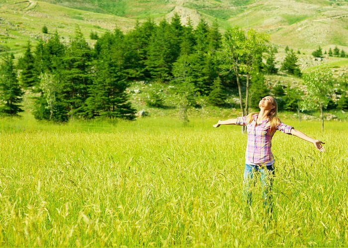 Active Greeting Card featuring the photograph Happy Girl Enjoying Nature by Anna Om