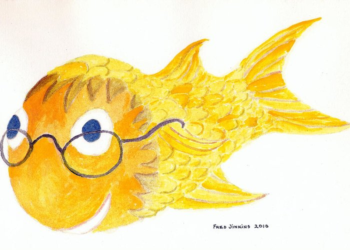 Happy Fish Print Greeting Card featuring the painting Happy Golden Fish by Fred Jinkins