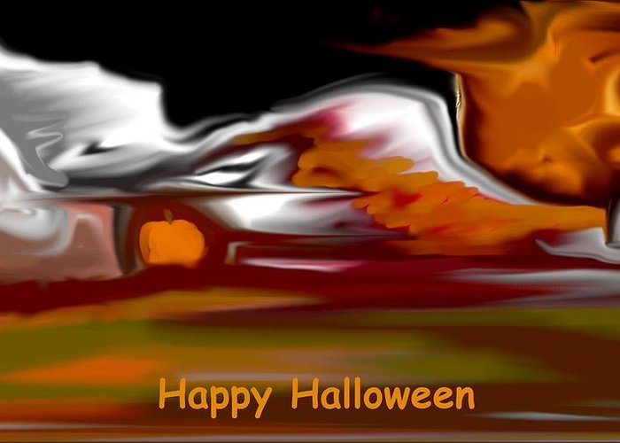 Abstract Digital Painting Greeting Card featuring the digital art Happy Halloween by David Lane