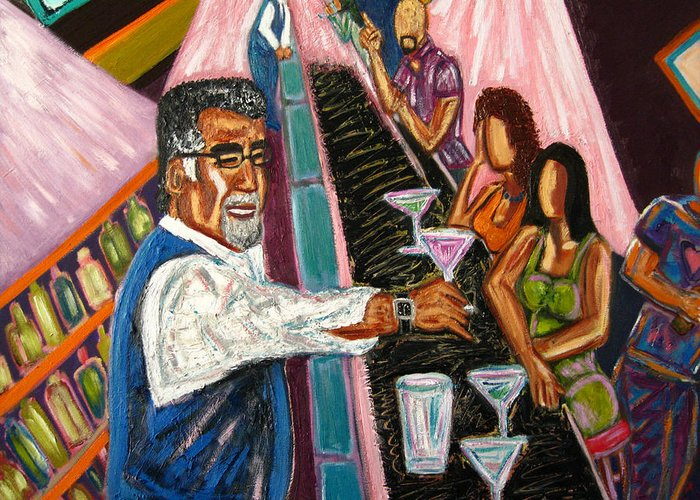 Cocktails Greeting Card featuring the painting Happy Hour At O.j.'s by Albert Almondia