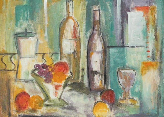 Abstract Greeting Card featuring the painting Happy Hour I by Trish Toro