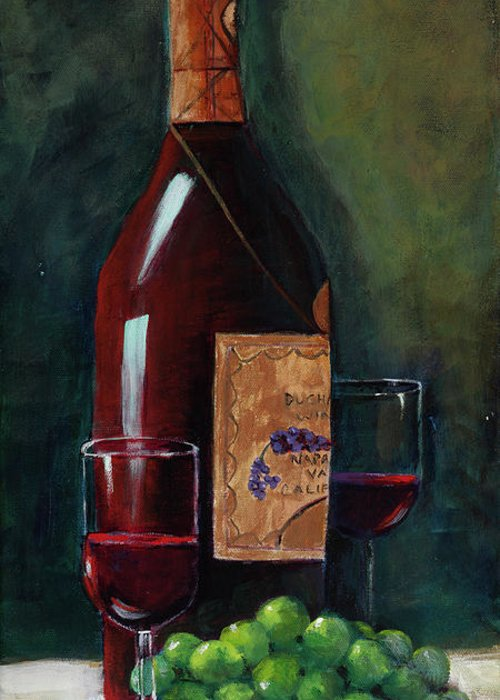 Happy Hour..deep Red Wine Bottle With Green Grapes Greeting Card featuring the painting Happy Hour by Mary DuCharme