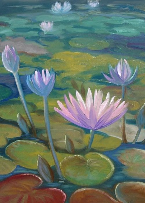 Pond Greeting Card featuring the painting Happy Lilies by Tan Nguyen
