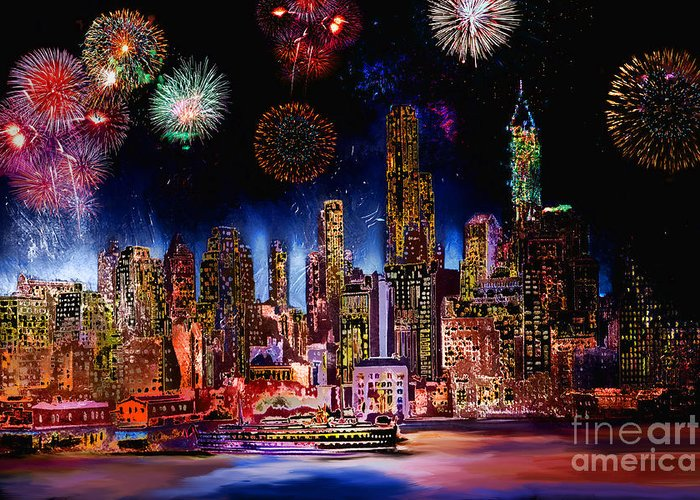 New York Greeting Card featuring the photograph Happy New Year by Andrzej Szczerski