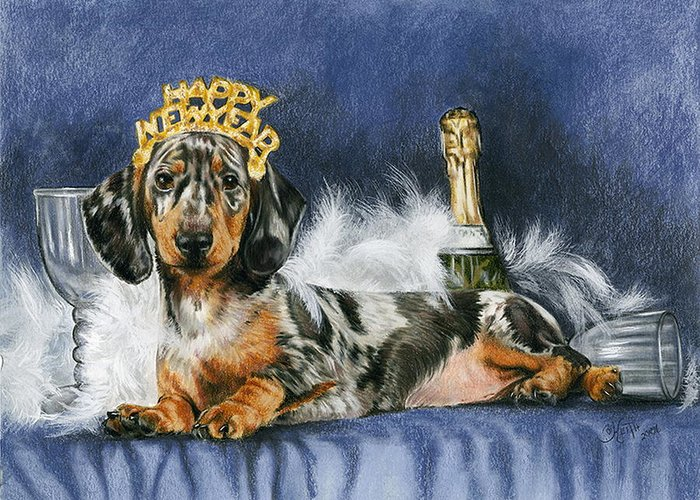 Dog Greeting Card featuring the mixed media Happy New Year by Barbara Keith