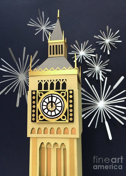 Happy New Year Greeting Card featuring the mixed media Happy New Year by Isobel Barber