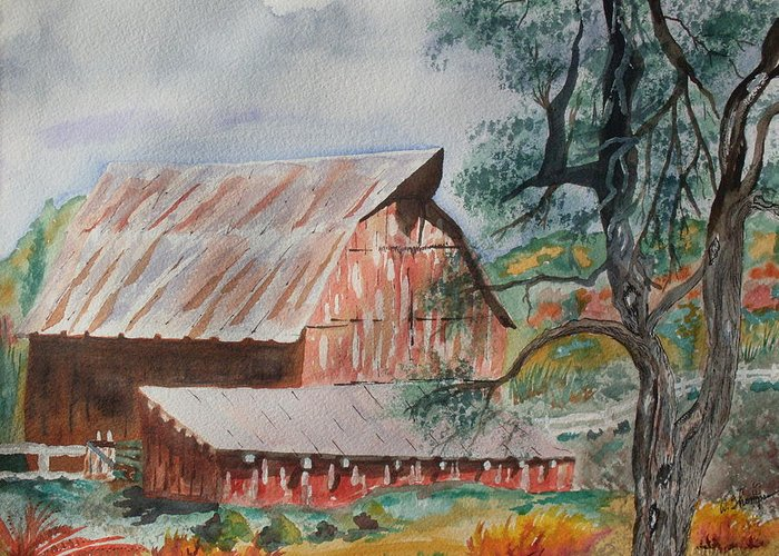 Farm Greeting Card featuring the painting Happy New Year On The Farm by Warren Thompson