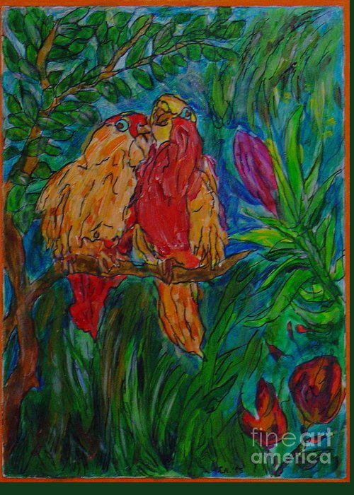 Birds Tropical Couple Pair Illustration Original Leilaatkinson Greeting Card featuring the painting Happy Pair by Leila Atkinson