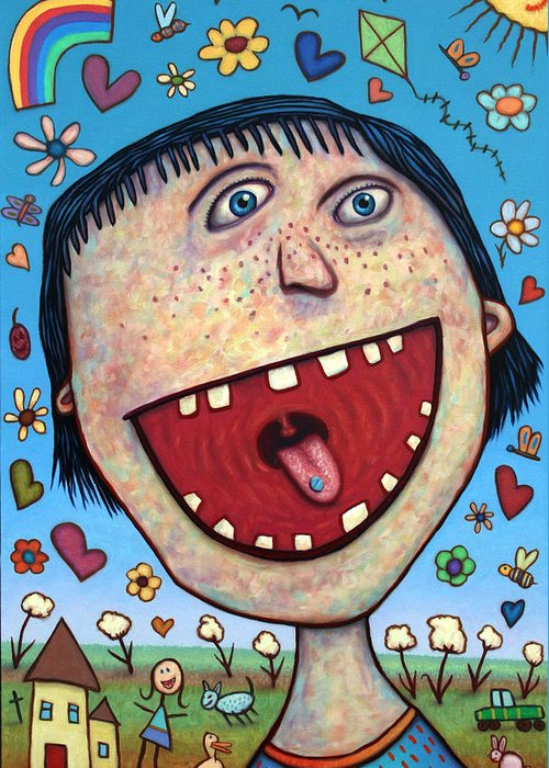 Happy Greeting Card featuring the painting Happy Pill by James W Johnson