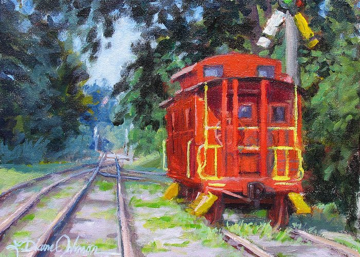 Railroading Greeting Card featuring the painting Happy Rails by L Diane Johnson