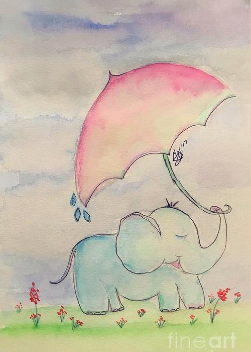 Elephant Greeting Card featuring the painting Happy Rain by Gail Nandlal