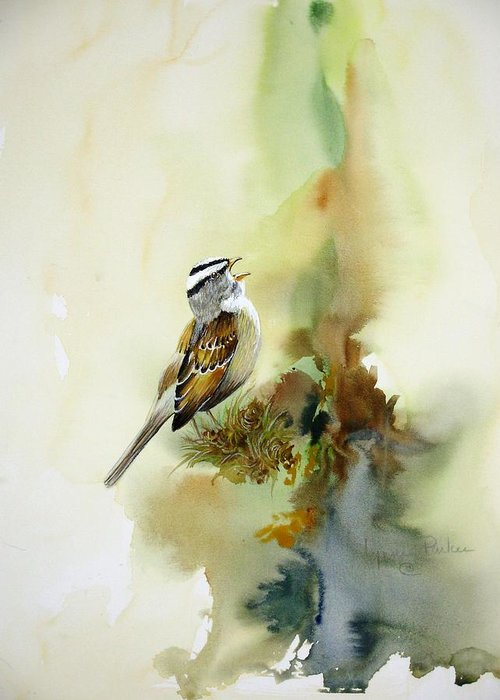 White-crowned Sparrow Greeting Card featuring the painting Happy Sparrow by Lynne Parker