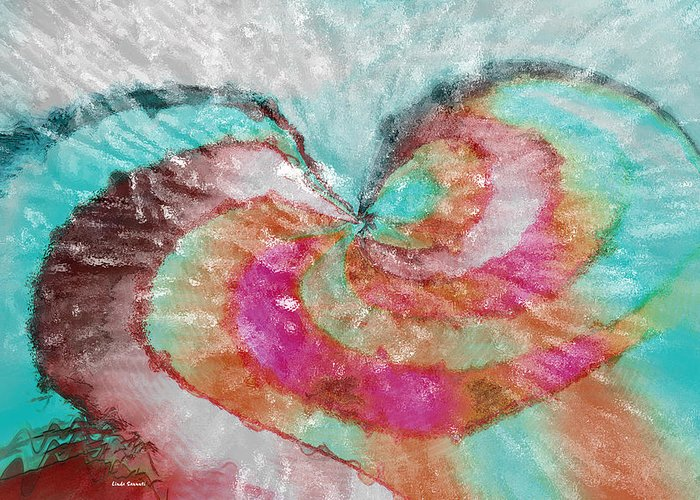 Abstract Art Greeting Card featuring the digital art Happy Valentine's Day by Linda Sannuti