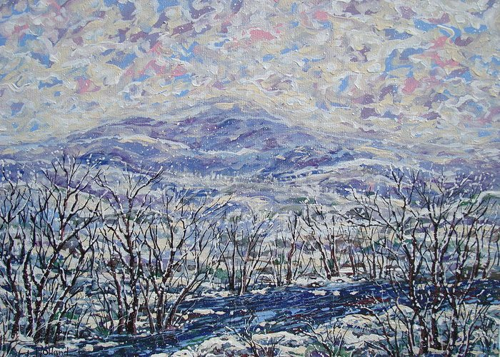 Landscape Greeting Card featuring the painting Happy Winter. by Leonard Holland