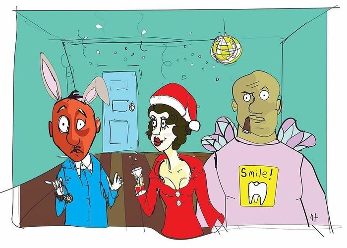 Christmas Greeting Card featuring the painting Happy...er...holidays? by Ladianne Henderson