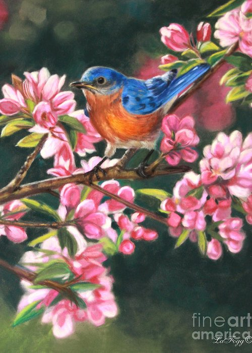 Blue Bird Greeting Card featuring the painting Harbingers Of Spring by Deb LaFogg-Docherty