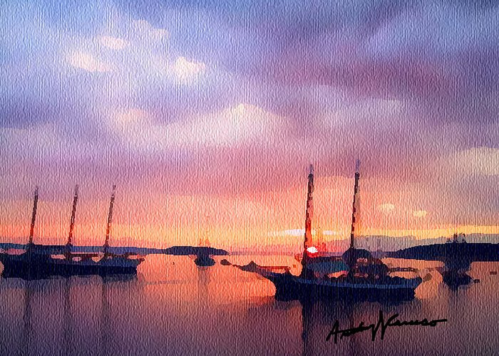 Harbor Greeting Card featuring the painting Harbor Art by Anthony Caruso
