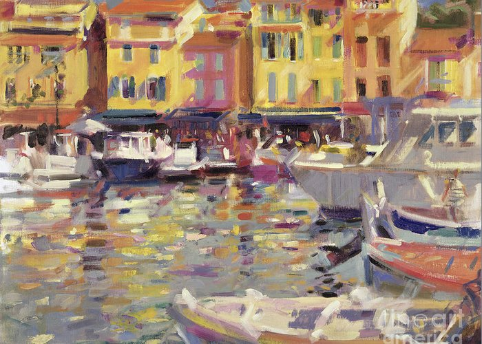 Fishing Boats; Boat; Port; Mediterranean; South Of France; French; Cote Dazur; Summer; Riviera; Harbour; Cassis Greeting Card featuring the painting Harbor At Cassis by Peter Graham